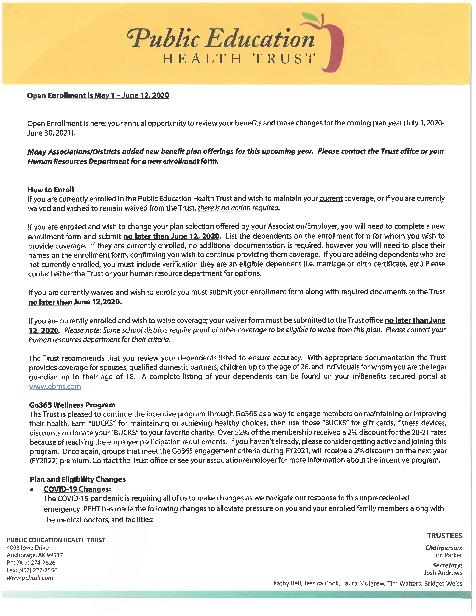 2020 Open Enrollment Letter
