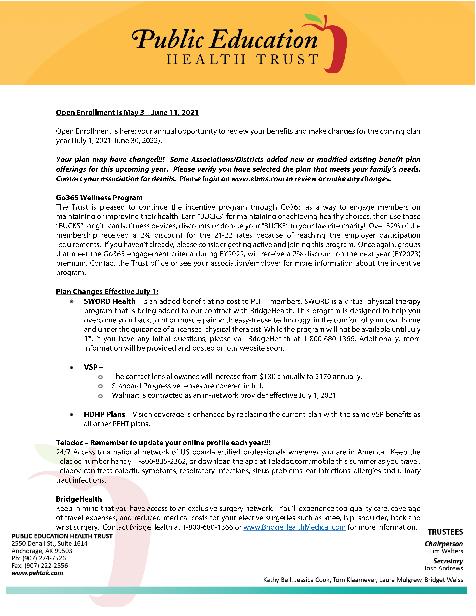 2021 Open Enrollment letter