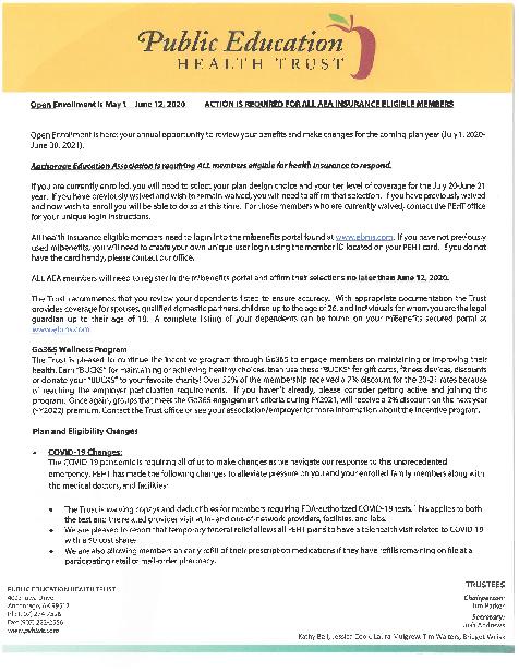 AEA 2020 Open Enrollment letter