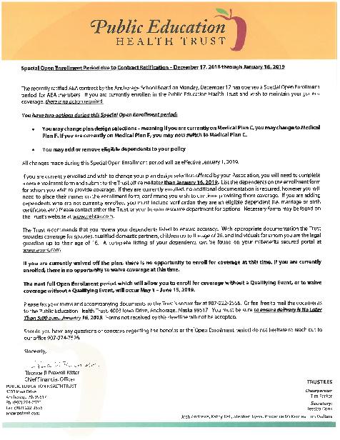 AEA FY19 Special Open Enrollment notice