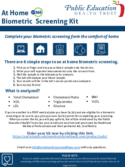 Biometric At Home Test flyer