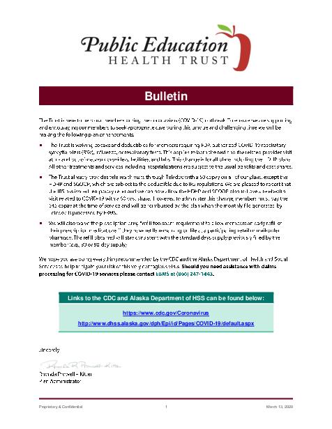PEHT COVID 19 Bulletin 03132020